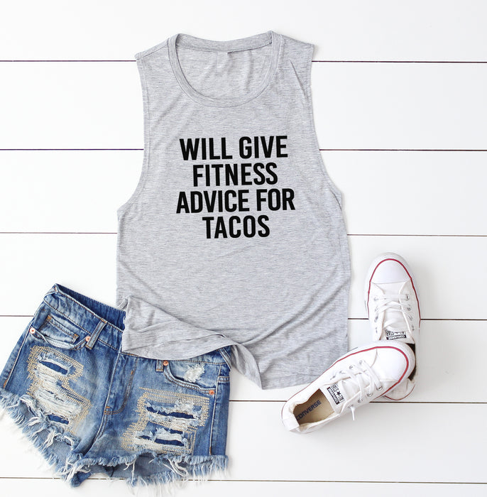 Will Give Fitness Advice For Tacos. Taco Tank Top. Gym Instructor. Fitness Instructor. Fitness Tank. After This Tacos. Workout Tank. Gym