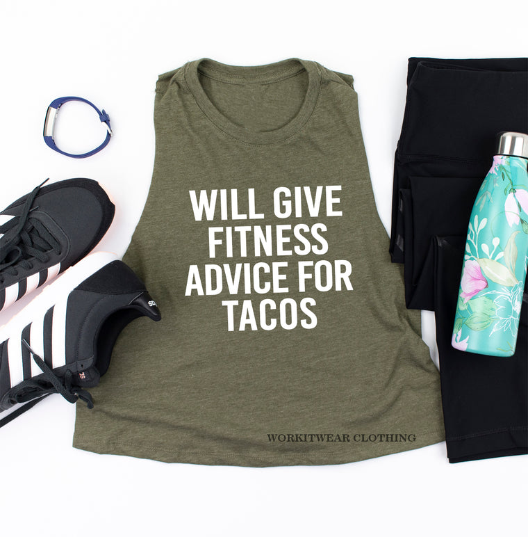 Fitness Instructor. Will Give Fitness Advice For Tacos. Coach Life. Workout Shirt. Cross Training. Lifting Shirt Instructor Trainer