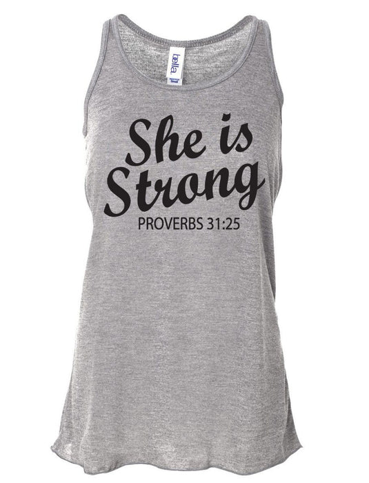 She Is Strong Proverbs 31:25. Workout Tank Top. Bella. Christian Clothing. Running Shirt. Marathon. Faith. Weight Lifting. Christian Tank.