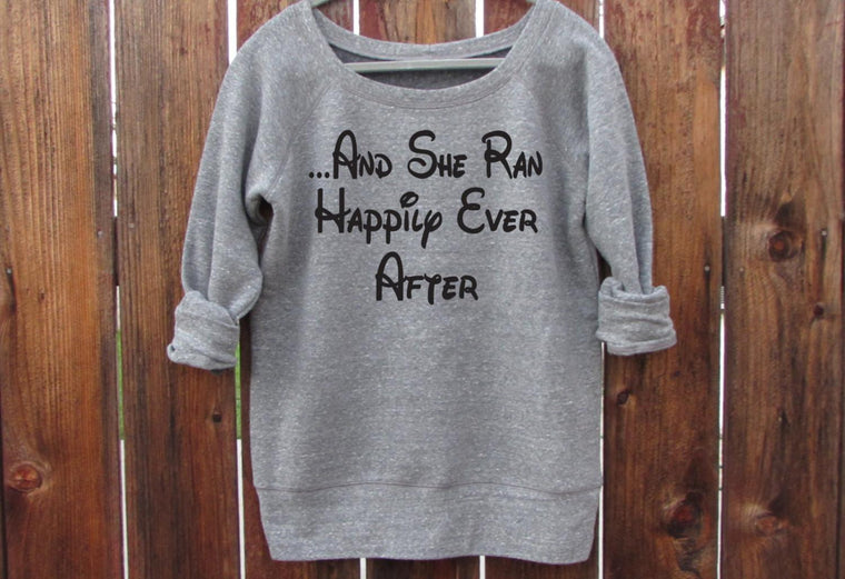 And She Ran Happily Ever After Pullover Sweater. Slouchy Wideneck Running Sweatshirt. Gift for Runner. Running Shirt. Disney Sweater.. S-2XL