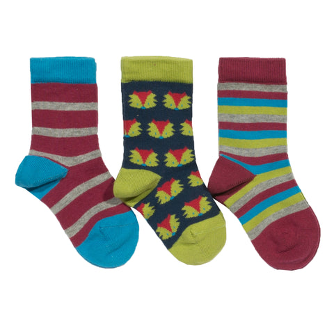 Kite 3 Pack Foxy Socks