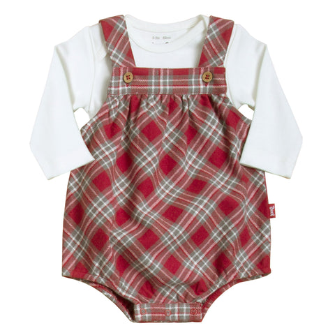 Kite Check Bubble Romper Set