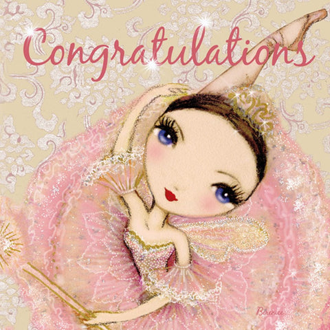Ballet Papier Greetings Card - Congratulations Pink