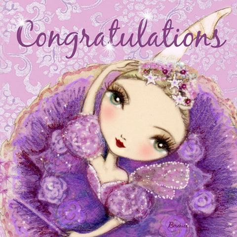 Ballet Papier Greetings Card - Congratulations Purple