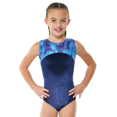 Tappers and Pointers Velvet & Galaxy Print Gymnastics Leotard