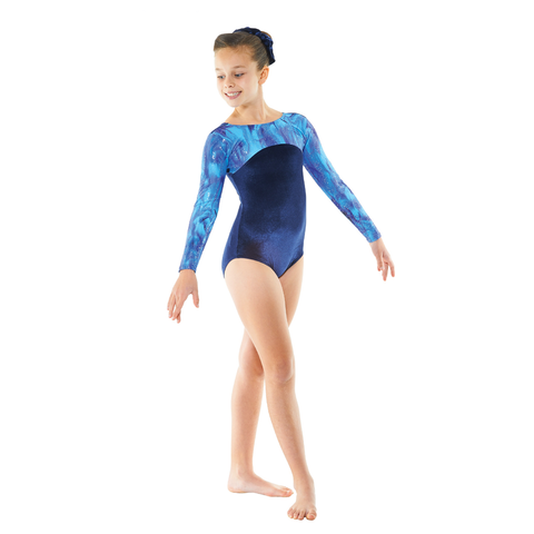 Tappers and Pointers Velvet & Galaxy Print Long Sleeved Gymnastics Leotard