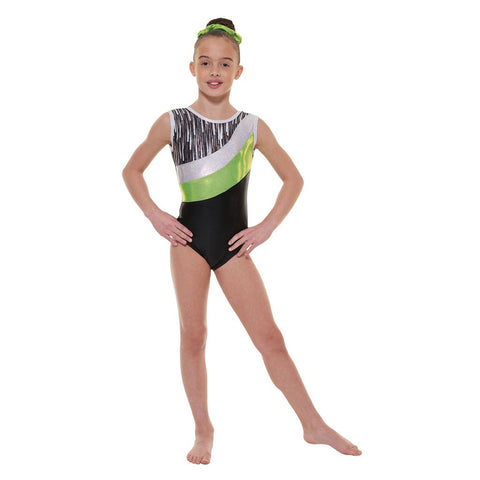 Tappers & Pointers Black Nylon Lycra Cascade Gymnastics Leotard