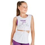 "KAIA BY BLOCH WHITE KNOTTED TOP ""NEVER GIVE UP"" KA005T. BEADANCEWEAR TONBRIDGE"