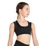 KAIA BY BLOCH RACER BACK CROP TOP BLACK AND PIA. KA006S. TONBRIDGE DANCEWEAR