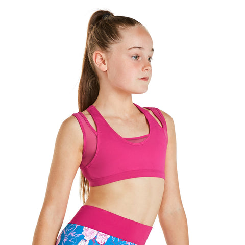KIA BY BLOCH RACER BACK CROP TOP BLACK PIA. KA006T. TONBRIDGE DANCEWEAR.
