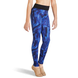 KAIA BY BLOCH CONTRASTING BLUE PRINT LEGGING BLACK WAISTBAND. KA006T. TONBRIDGE DANCEWEAR