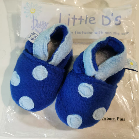 Little D's by Daisy Roots. Blue slippers with spots
