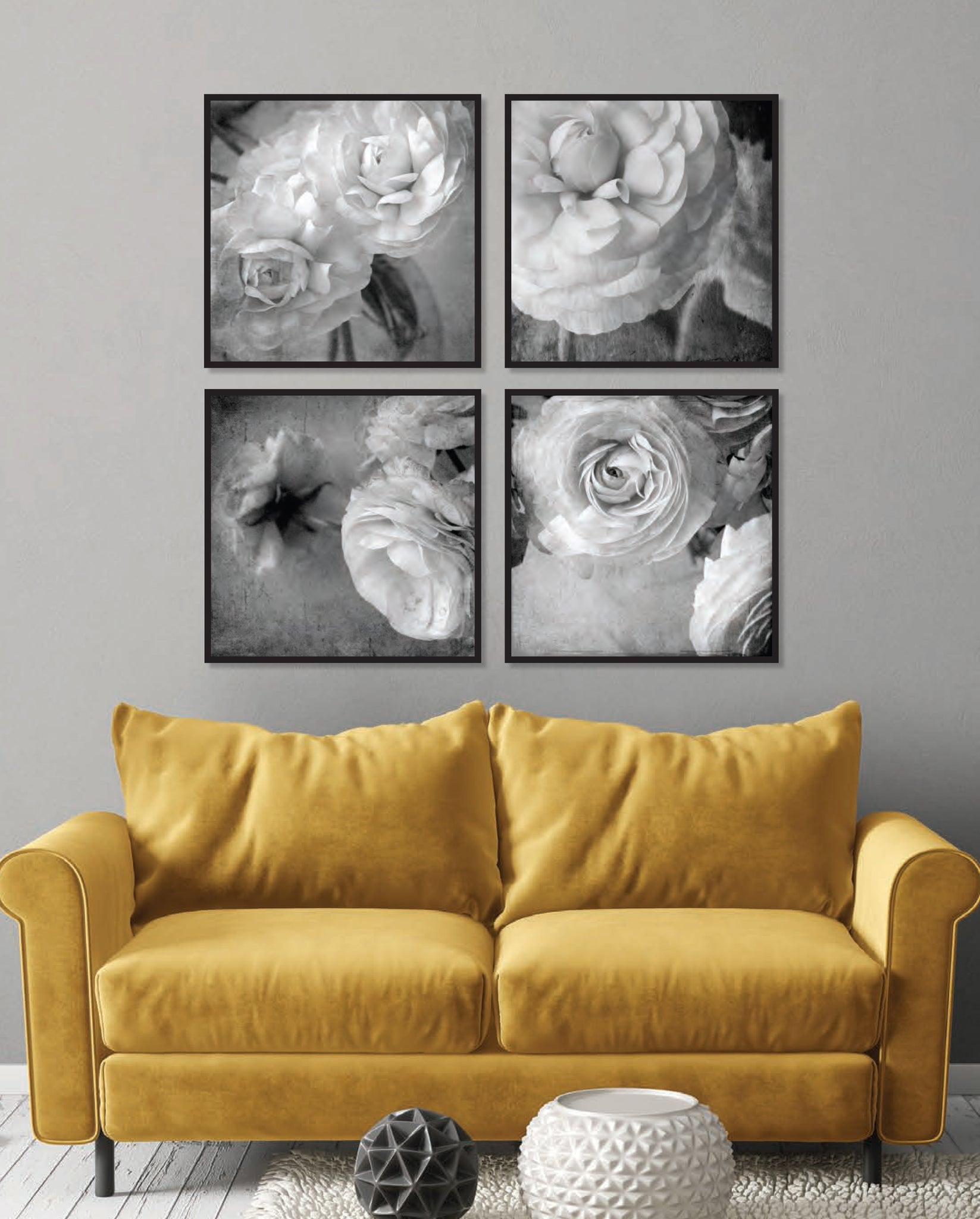 Gallery Wall of Black & White Florals