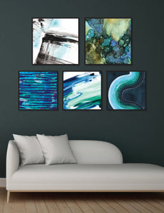 Abstract Figurative Blue & Green Gallery Wall