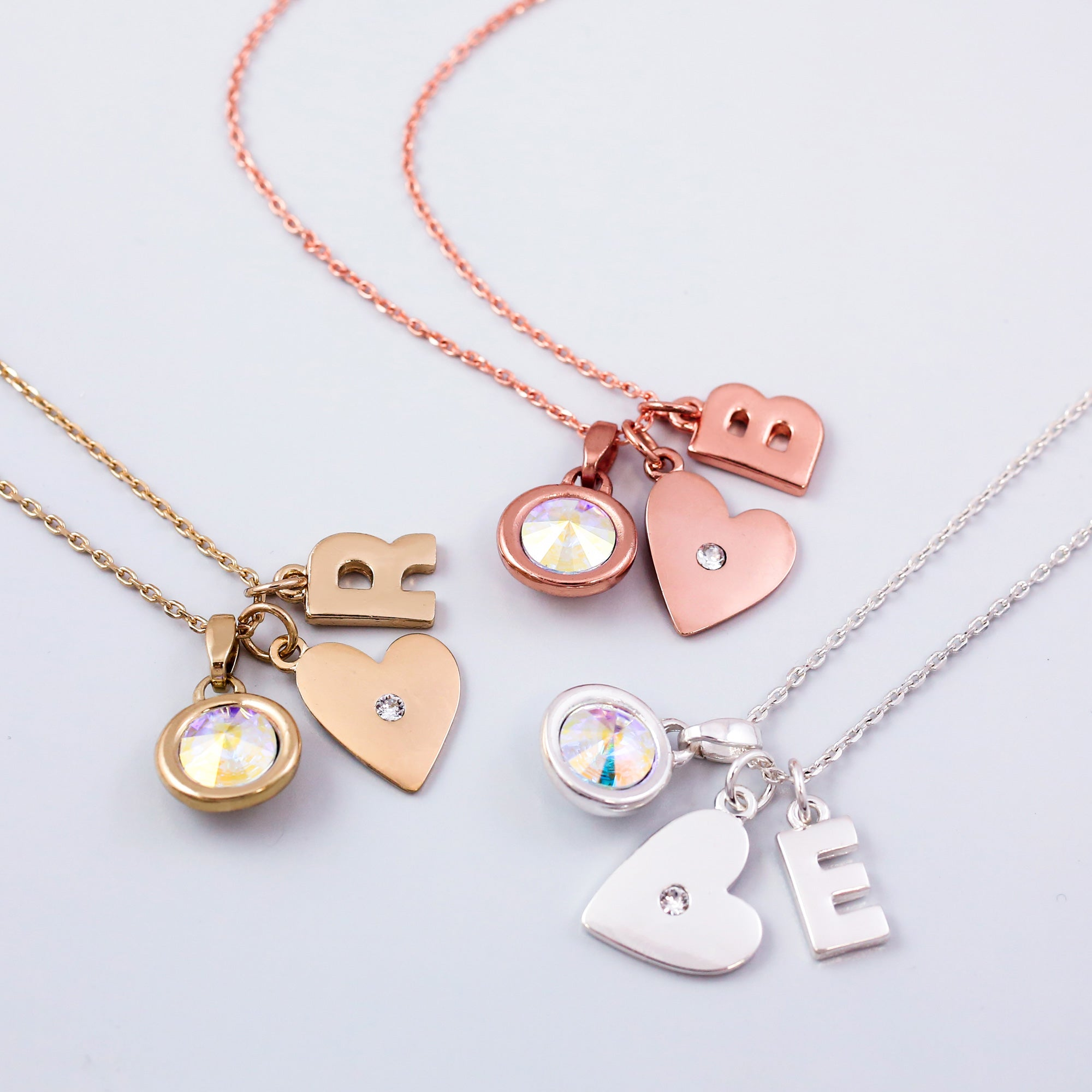 Heart Charm Necklace Made with Crystals from Swarovski ®