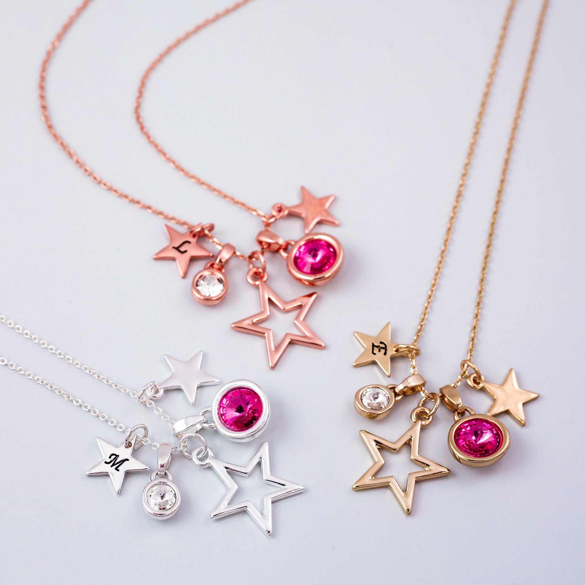 Personalised Star And Gemstone Charm Necklace