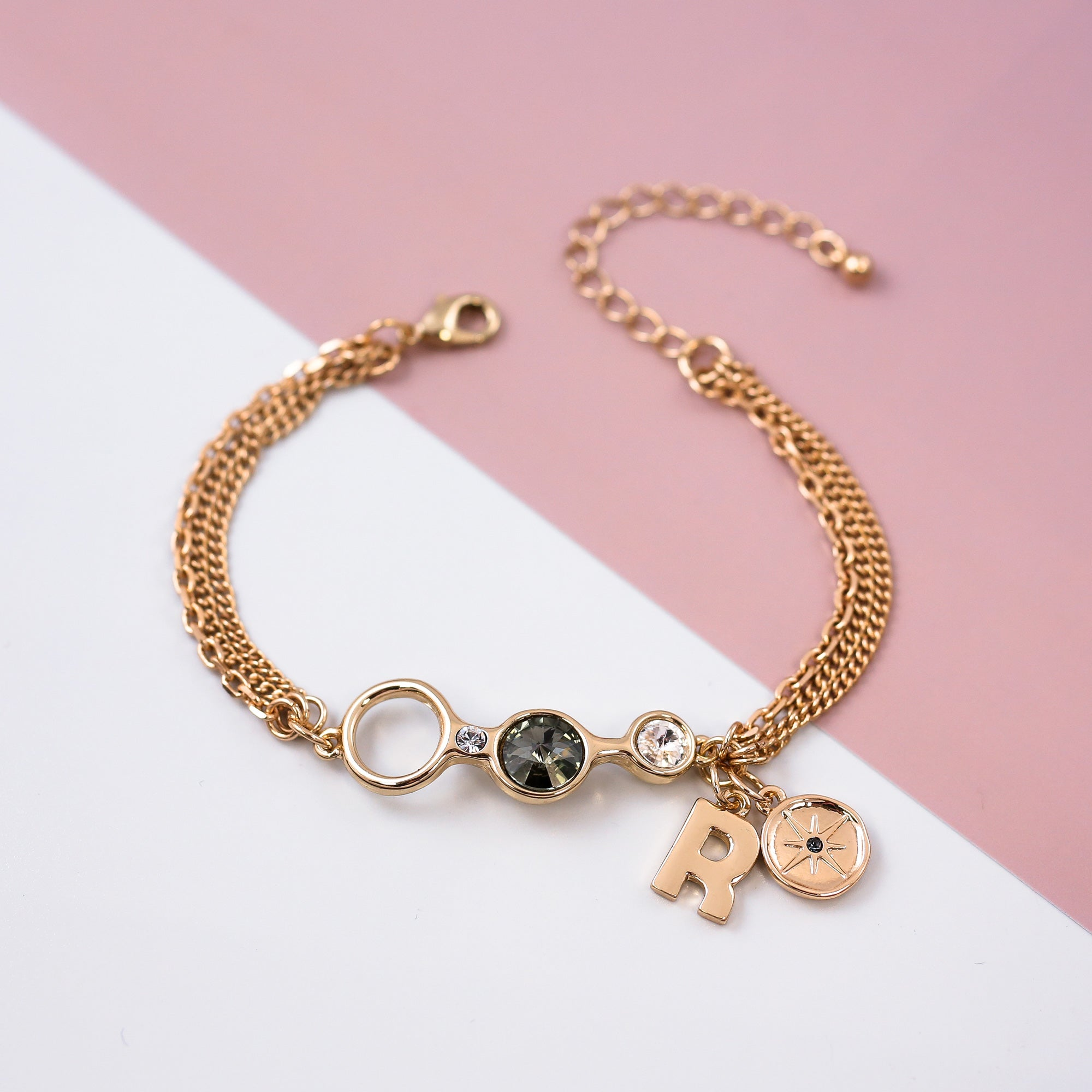 Charm Friendship Bracelet Gold & Crystal Silver Night