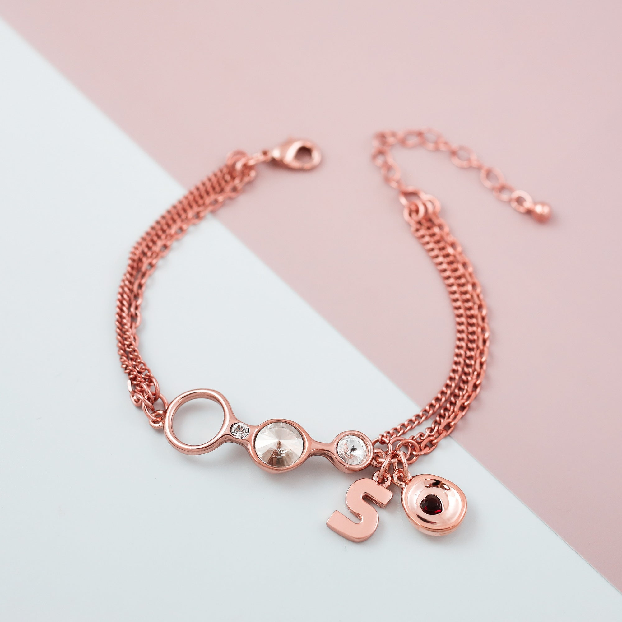 Charm Friendship Bracelet Rose Gold & Crystal Silver Shade