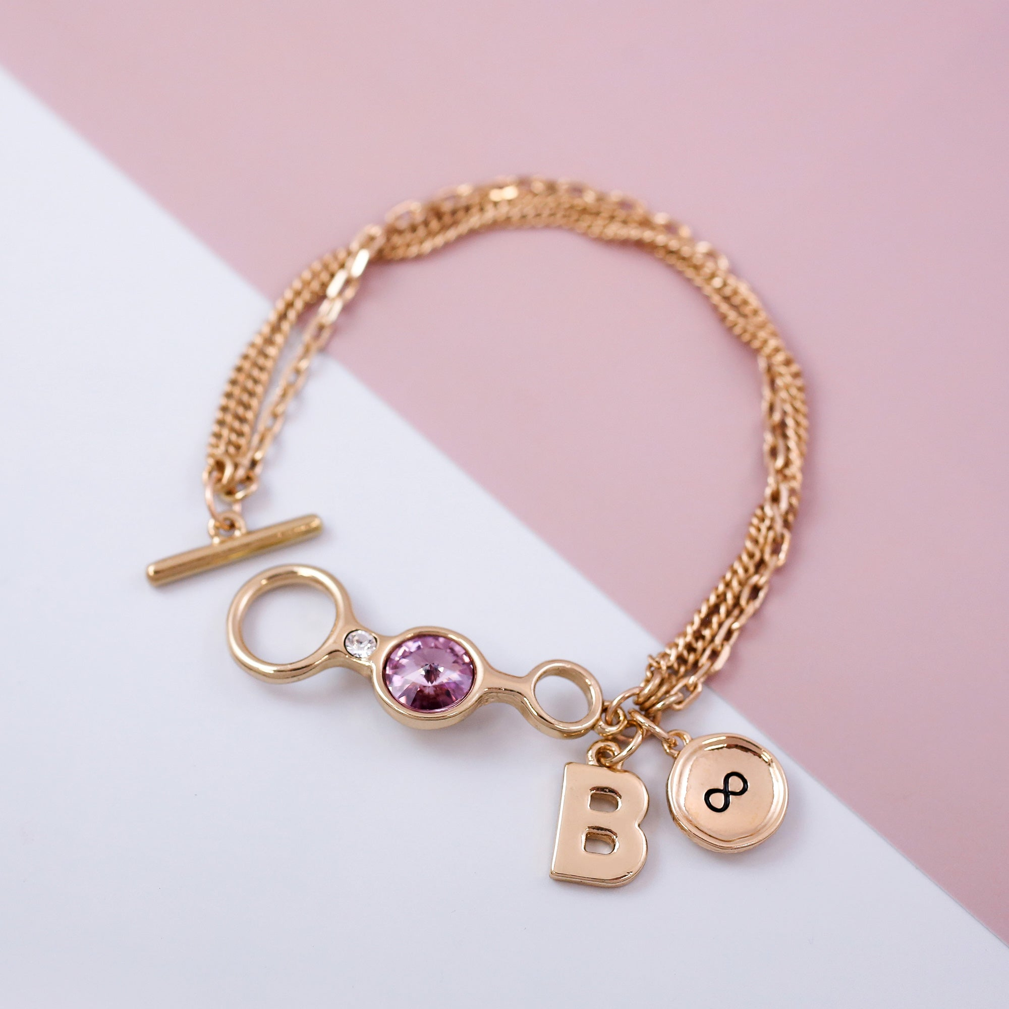 TBar Friendship Bracelet Gold & Light Amethyst