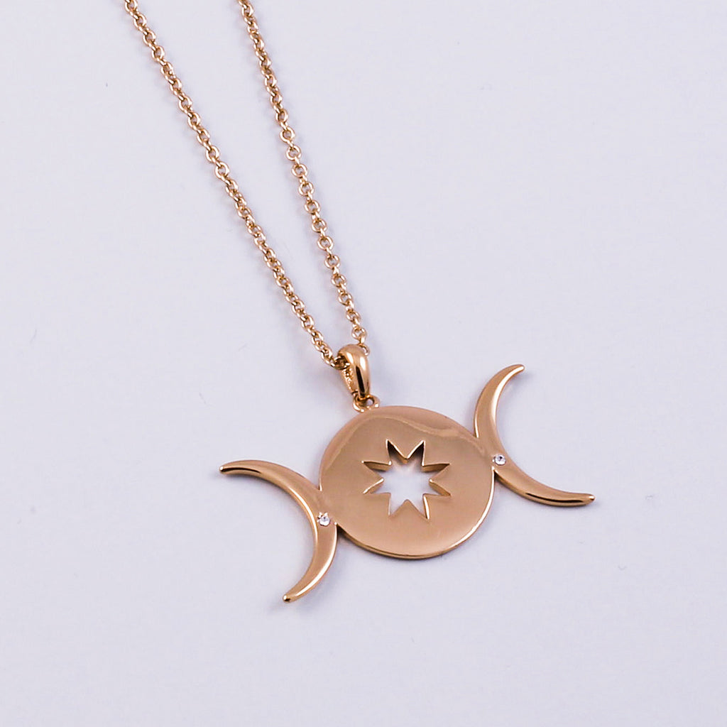 Gold Triple Moon Goddess Star Necklace