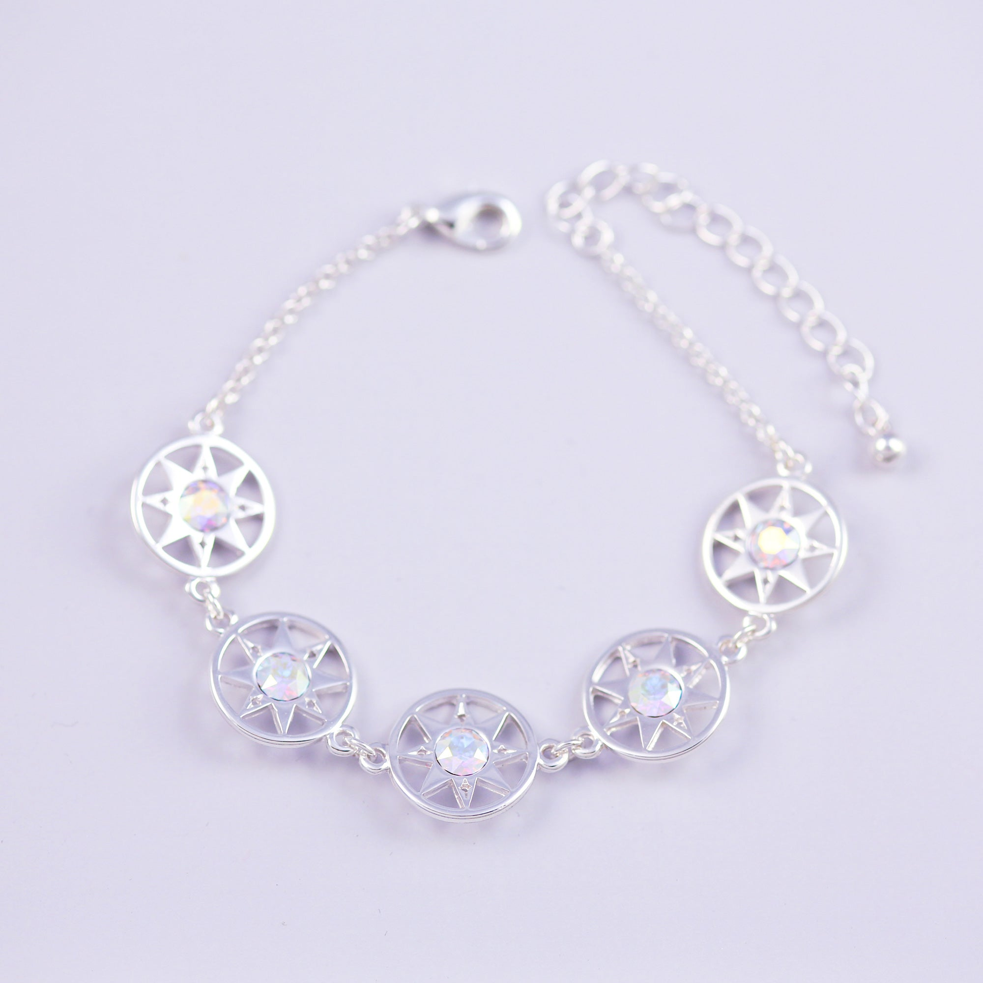 Silver & Crystal AB Compass North Star Multi Link Bracelet