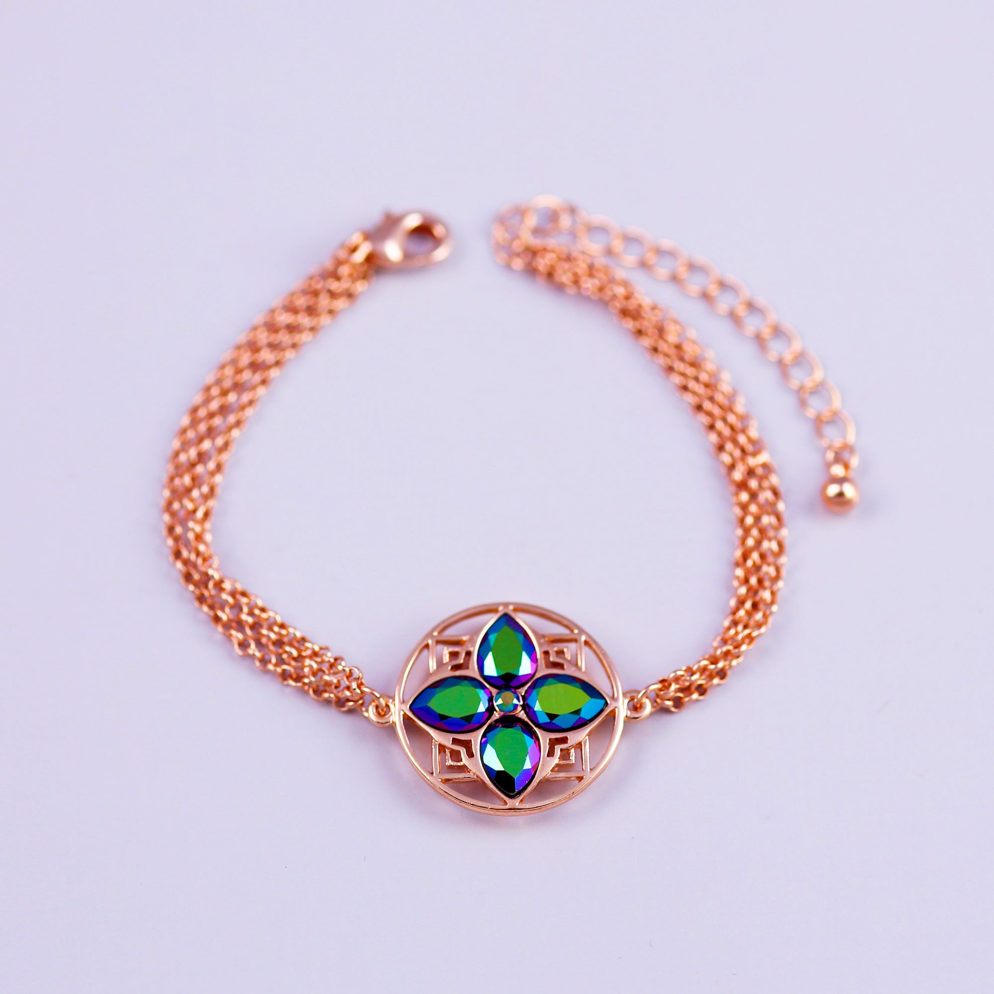 Rose Gold & Scarabaeus Green Four Petal Flower Bracelet