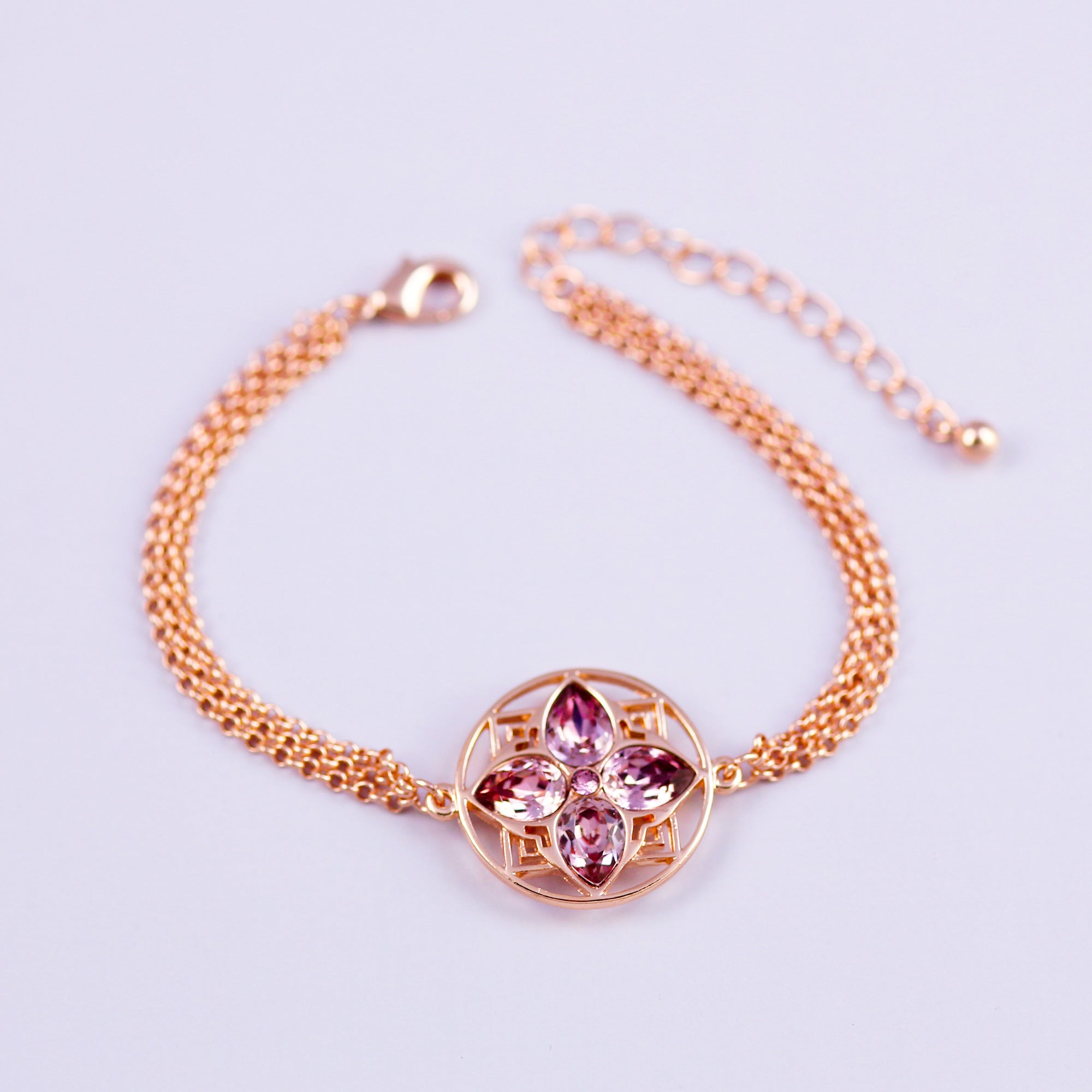 Gold & Antique Pink Four Petal Flower Bracelet