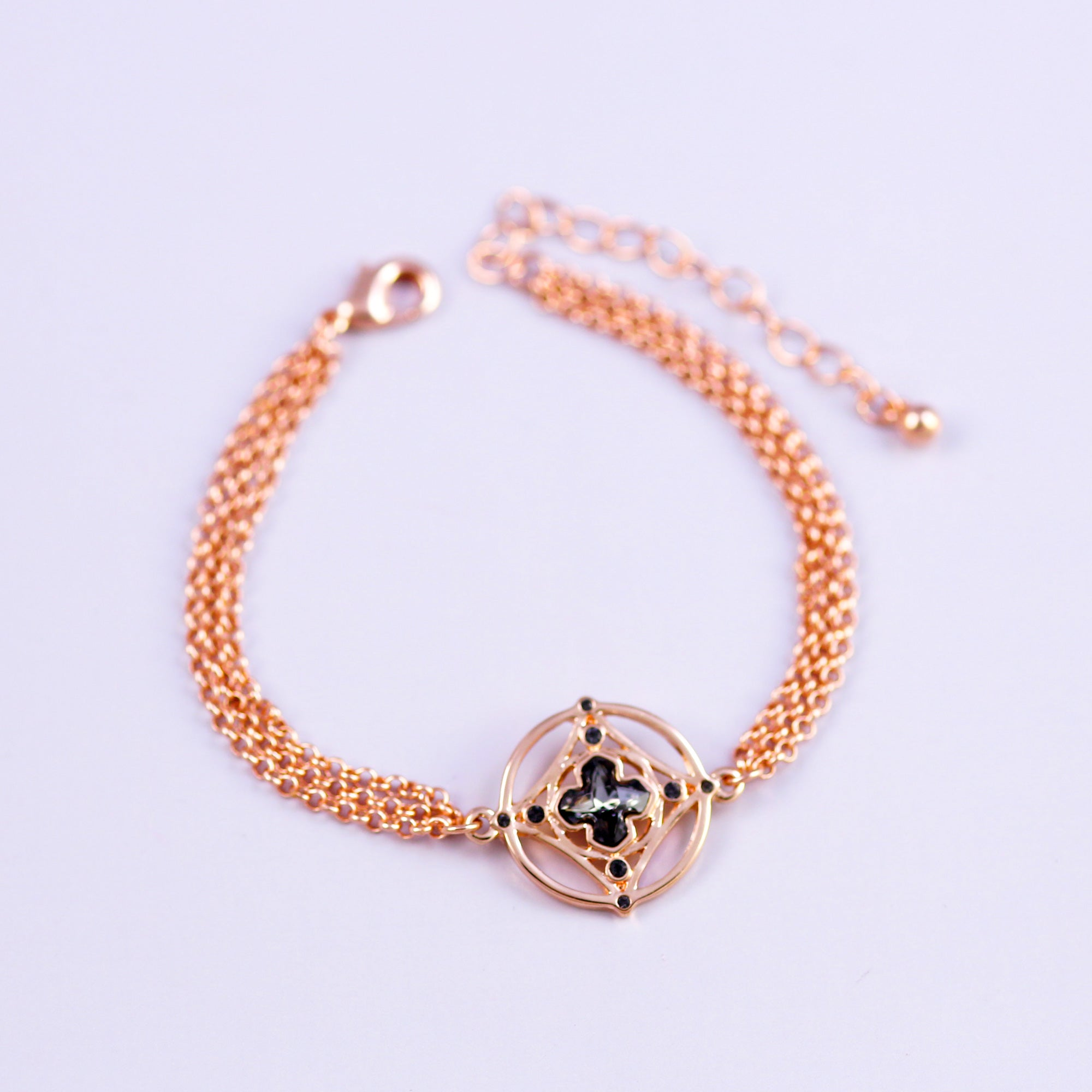 Rose Gold & Jet Greek Cross Bracelet