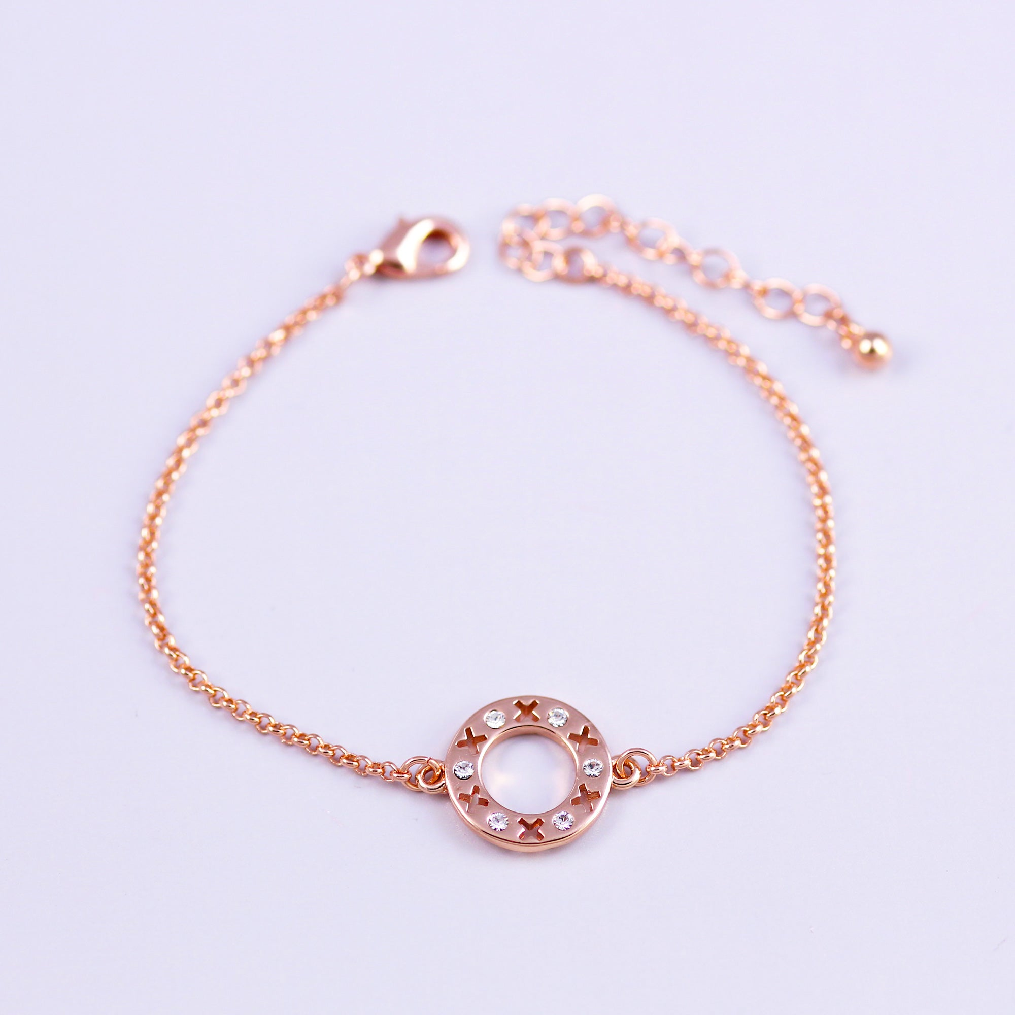 Rose Gold & Crystal Circle XOXO Bracelet