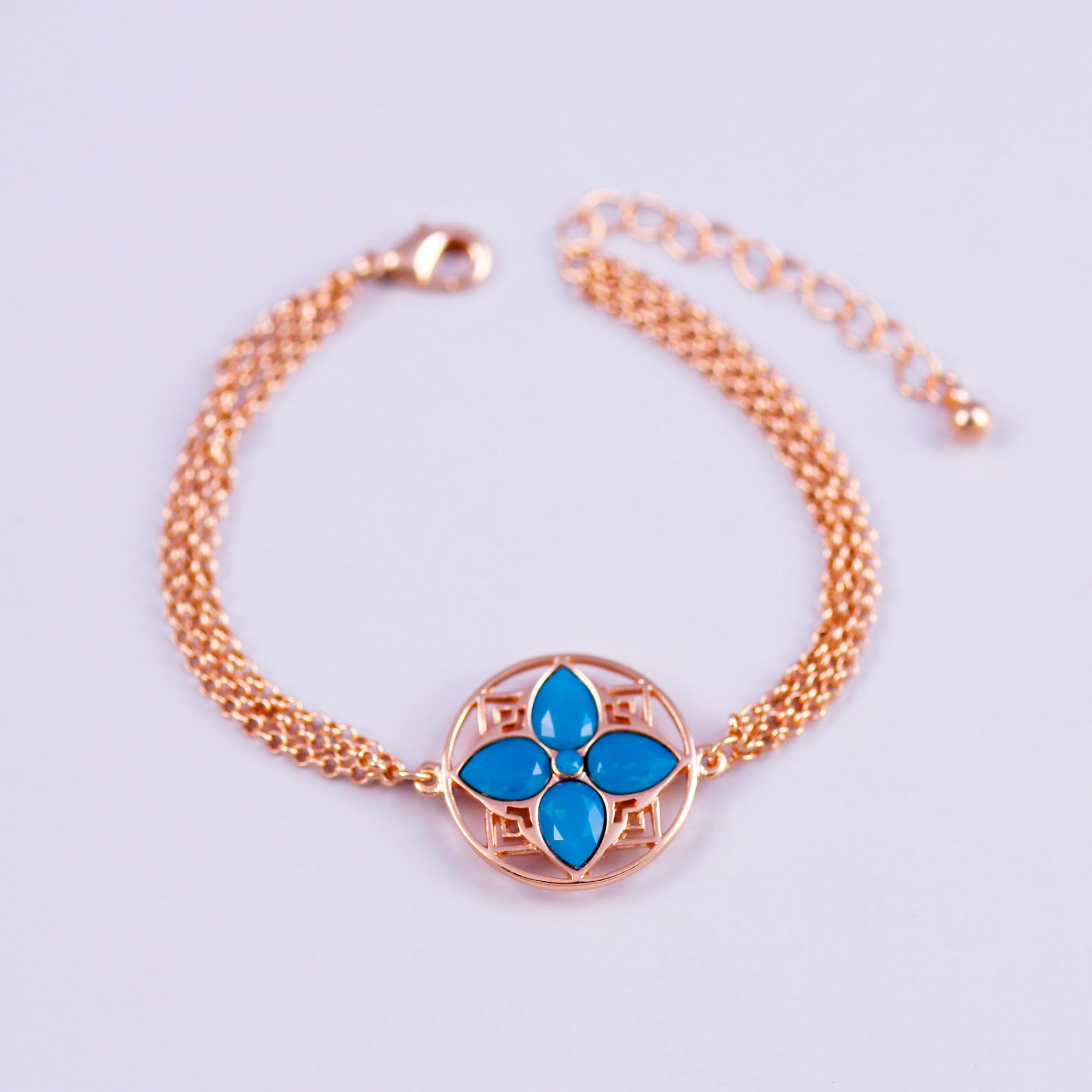 Rose Gold & Caribbean Blue Opal Four Petal Flower Bracelet