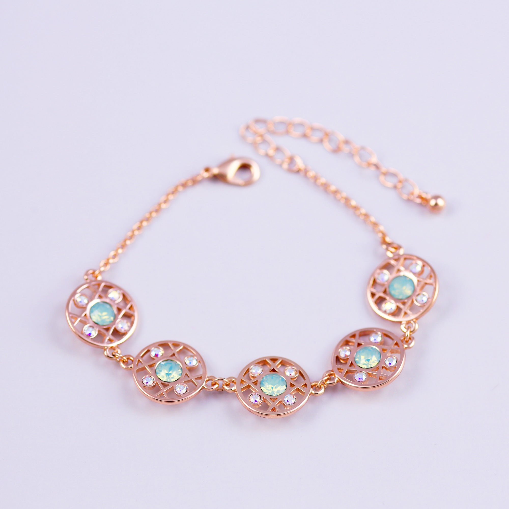 Rose Gold & Pacific Opal Hugs and Kisses Multi Link Bracelet