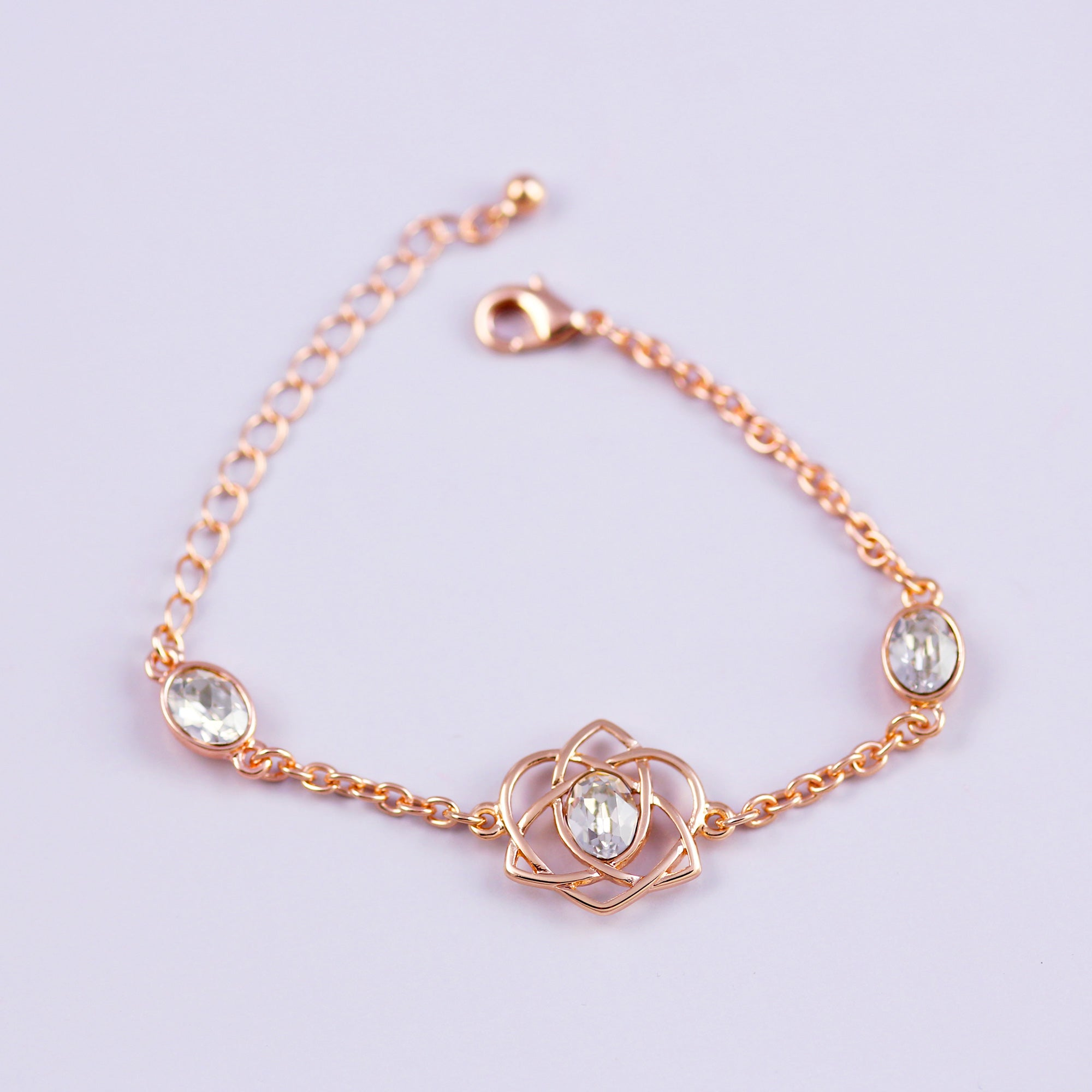 Rose Gold & Crystal Trinity Love Knot Bracelet