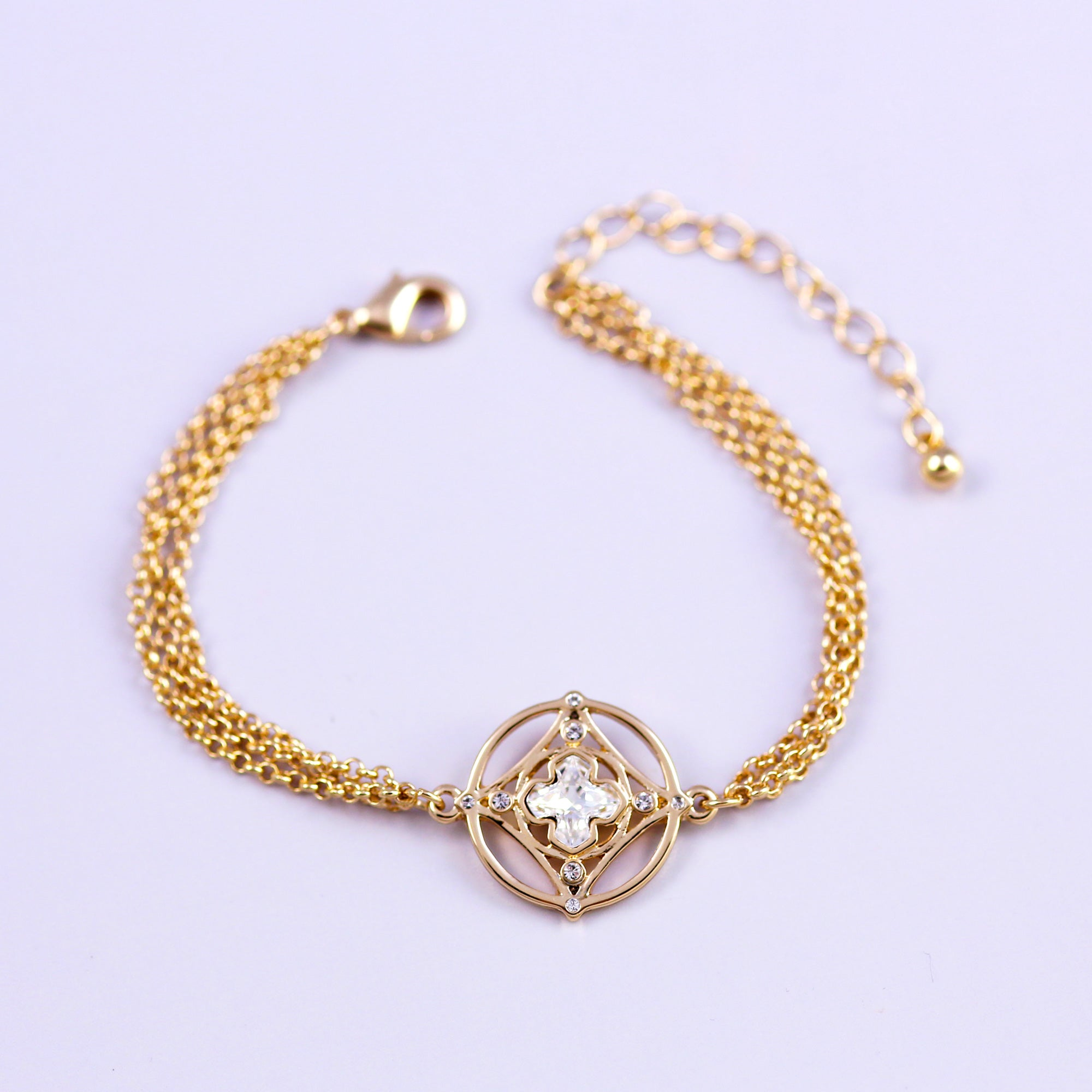 Gold & Crystal Greek Cross Bracelet