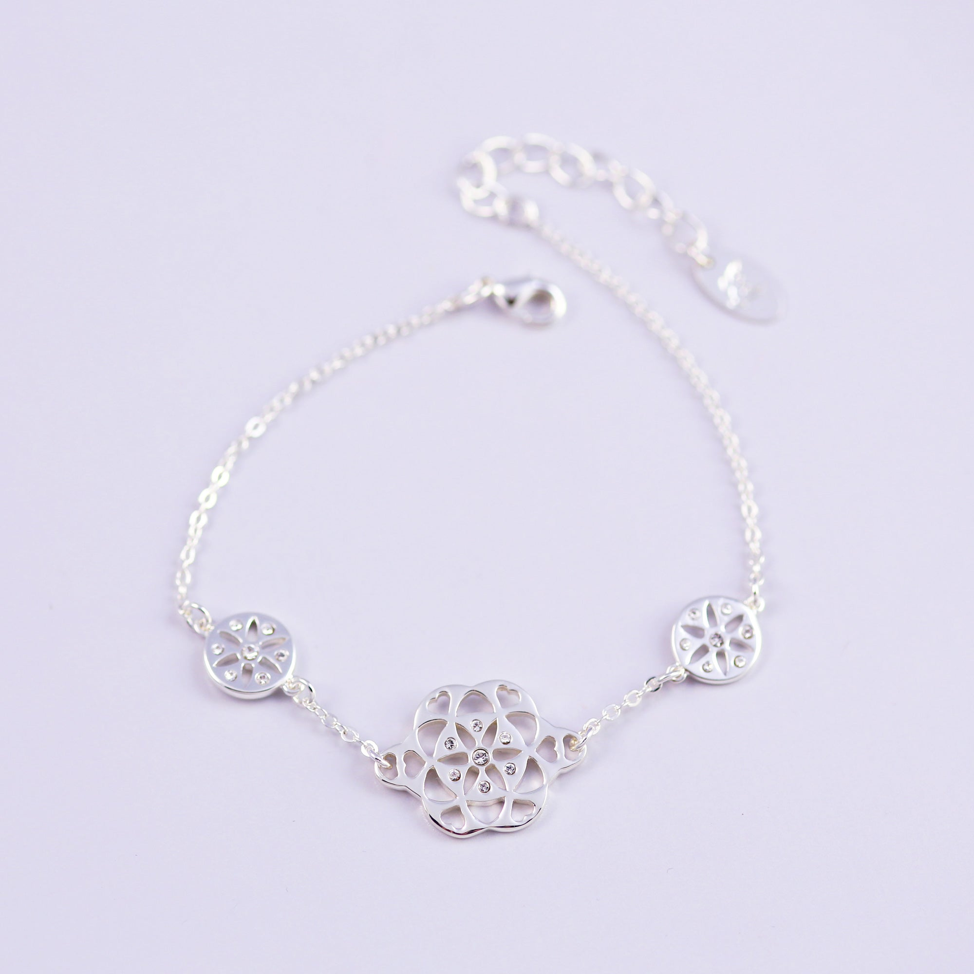 Silver & Crystal Seed of Life Bracelet