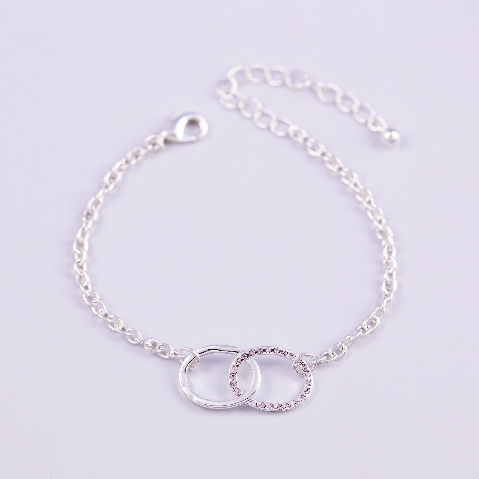 Silver Light Amethyst June Birthstone Infinity Bracelet