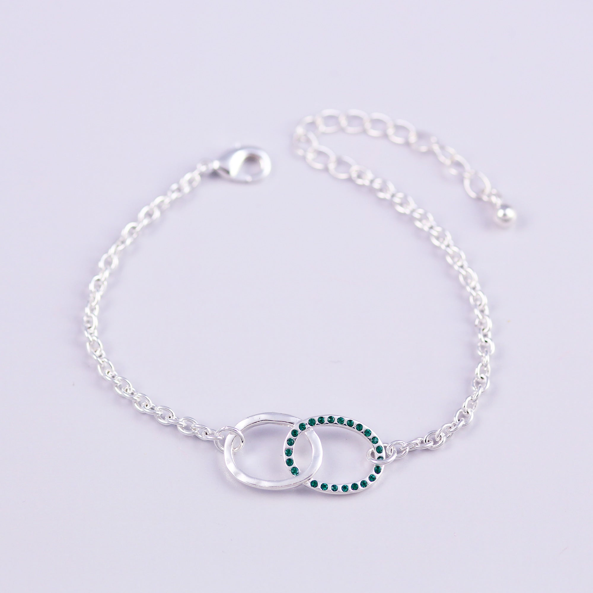 Silver Emerald May Birthstone Infinity Bracelet