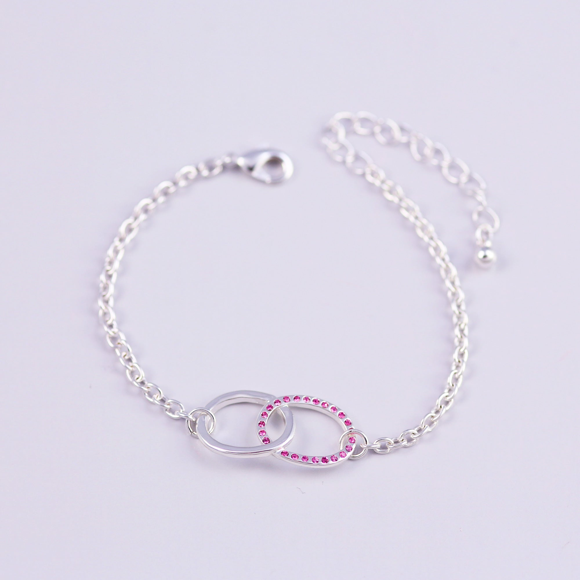 Silver Rose October Birthstone Infinity Bracelet