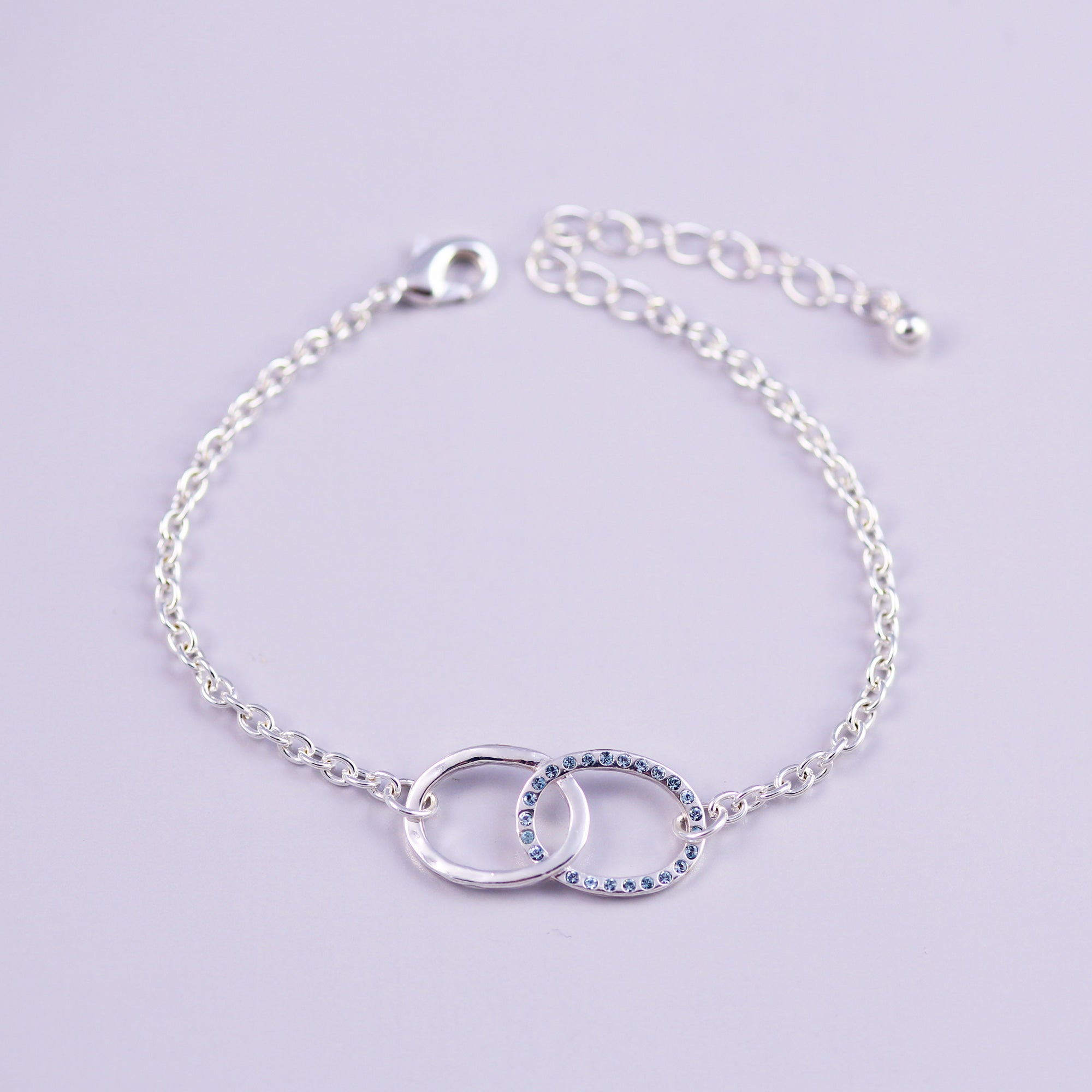 Silver Aquamarine March Birthstone Infinity Bracelet
