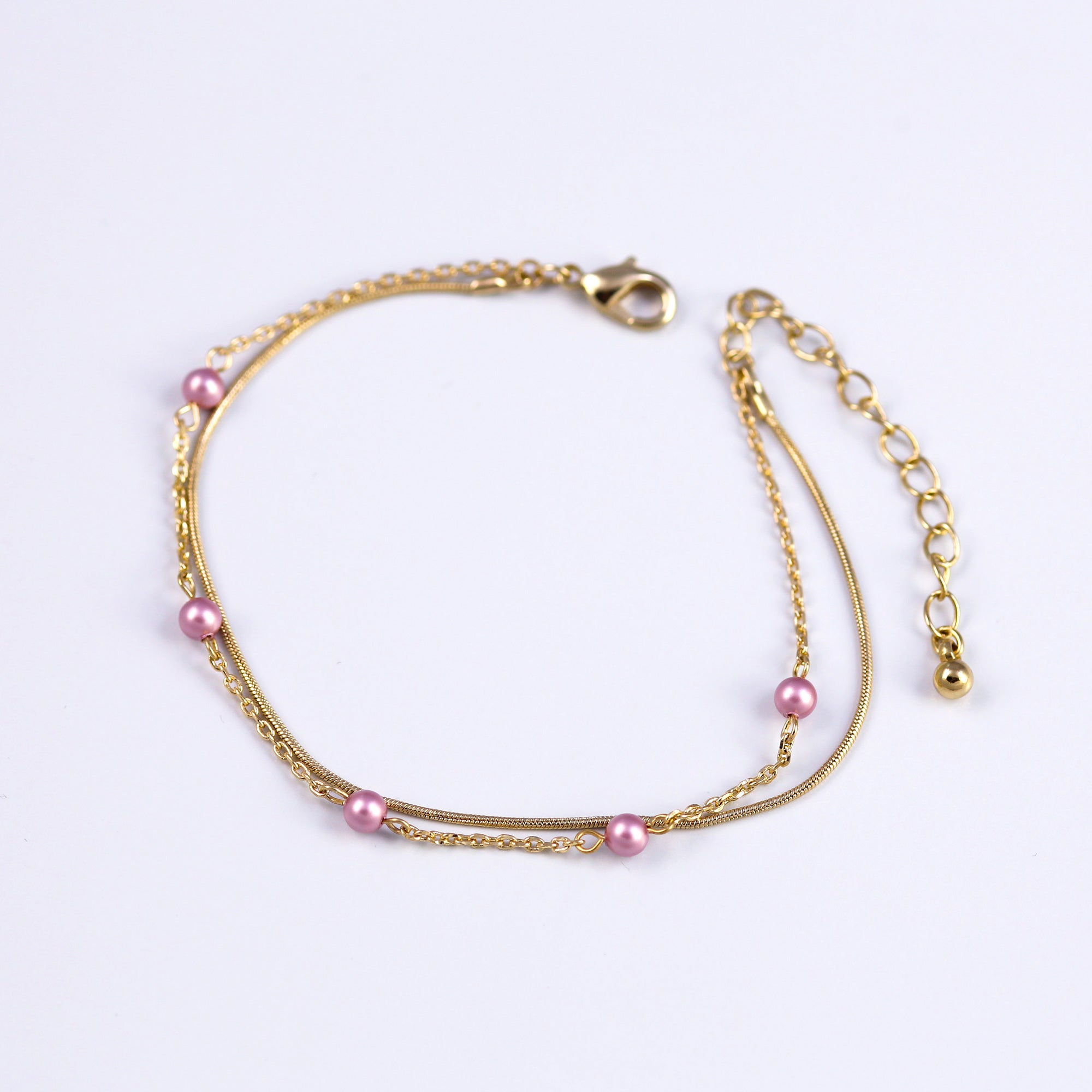 Delicate Gold Bracelet with Crystal Powder Pearls