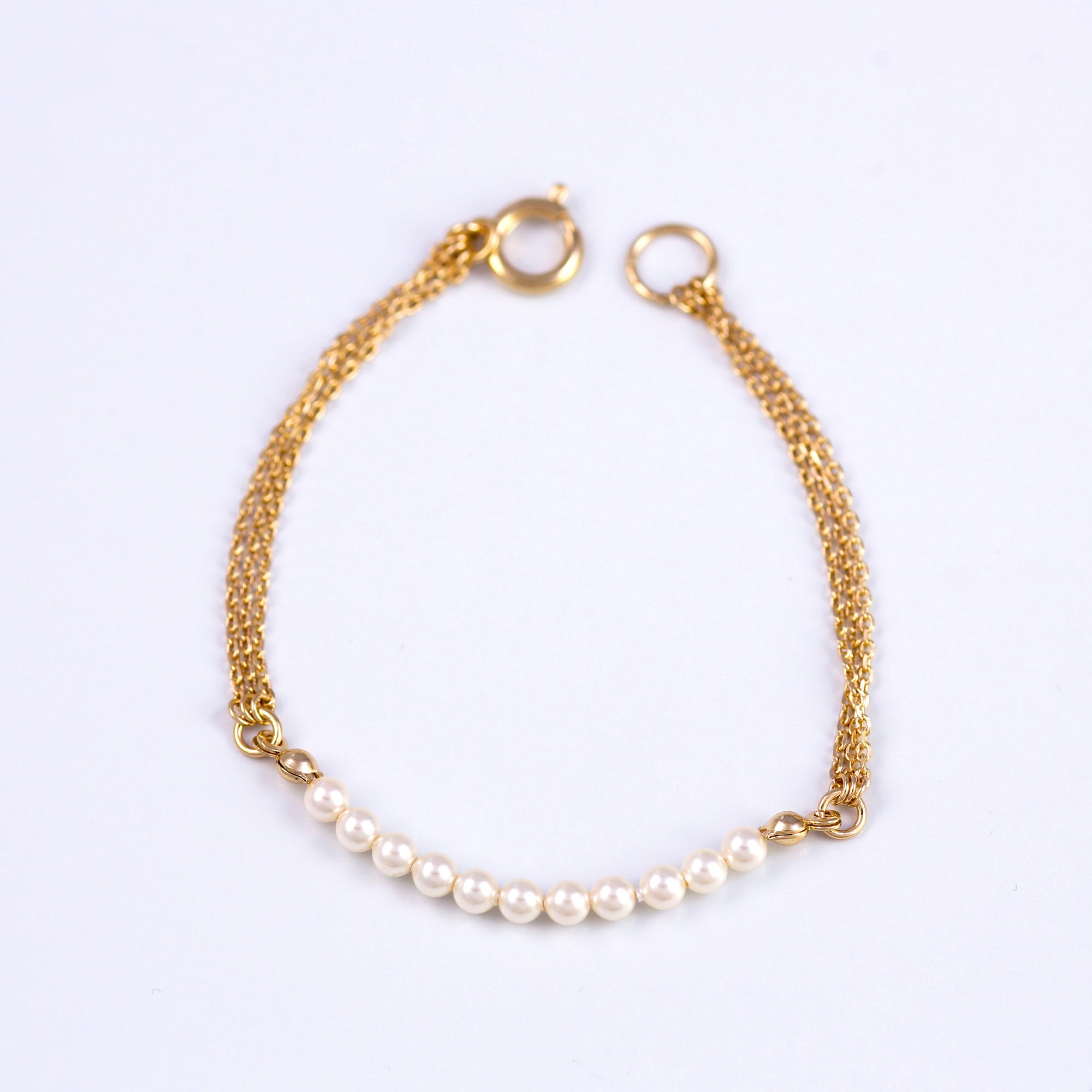 Pearl Bead Bracelet Gold & Cream