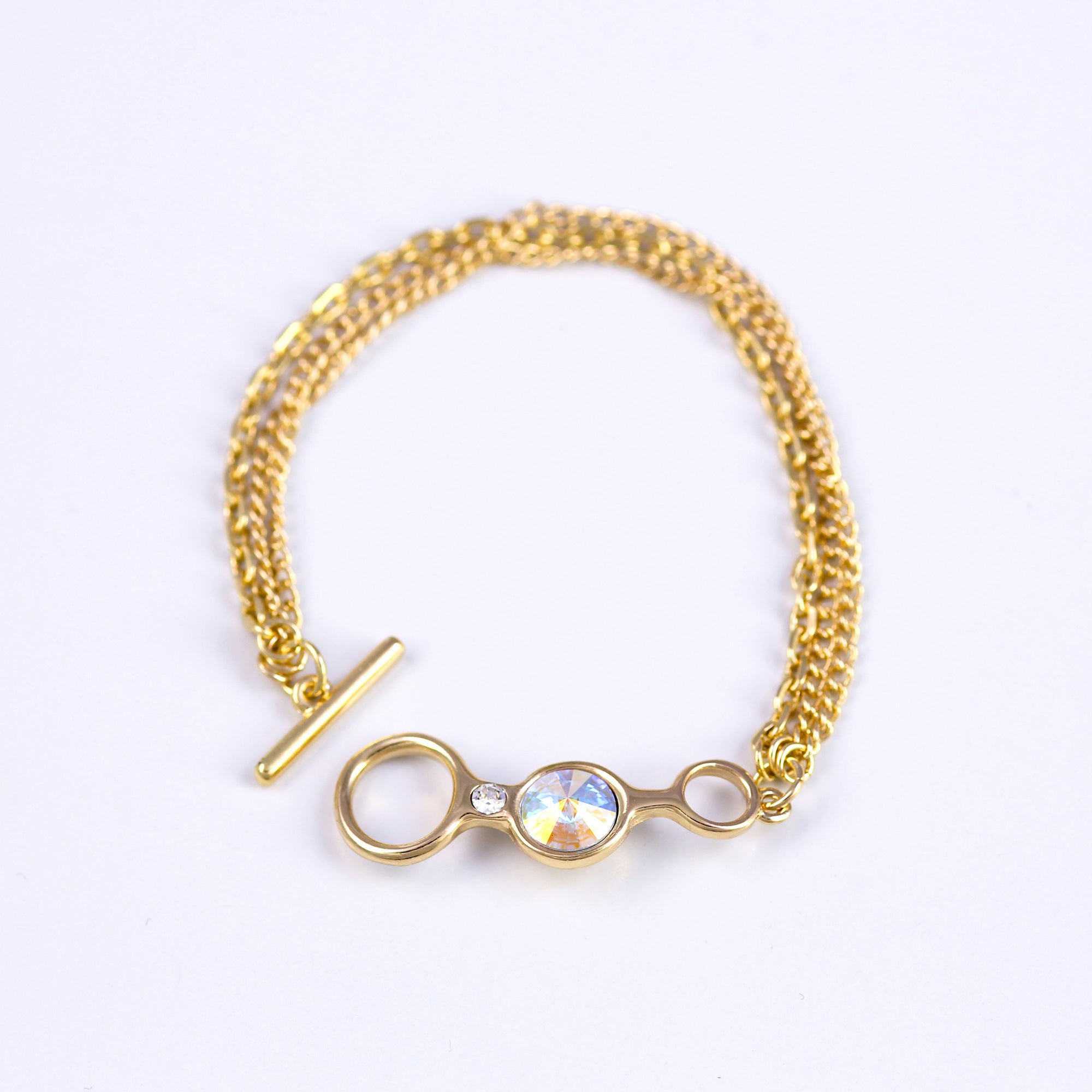 T bar Gemstone Bracelet in Gold and Crystal AB