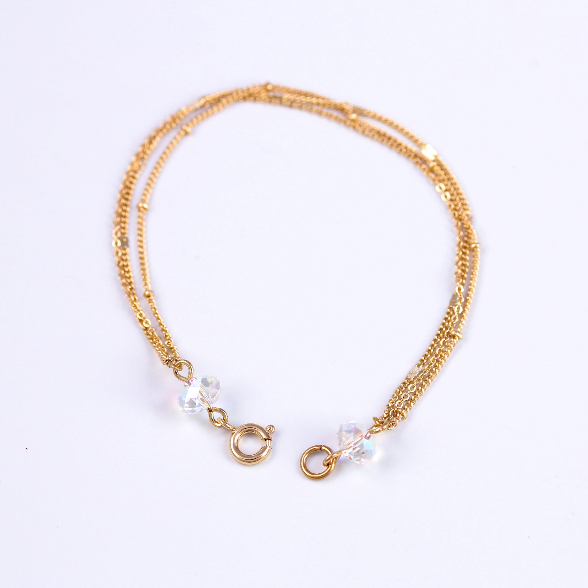 Gold & Iridescent Bead Bridal Satellite Bracelet