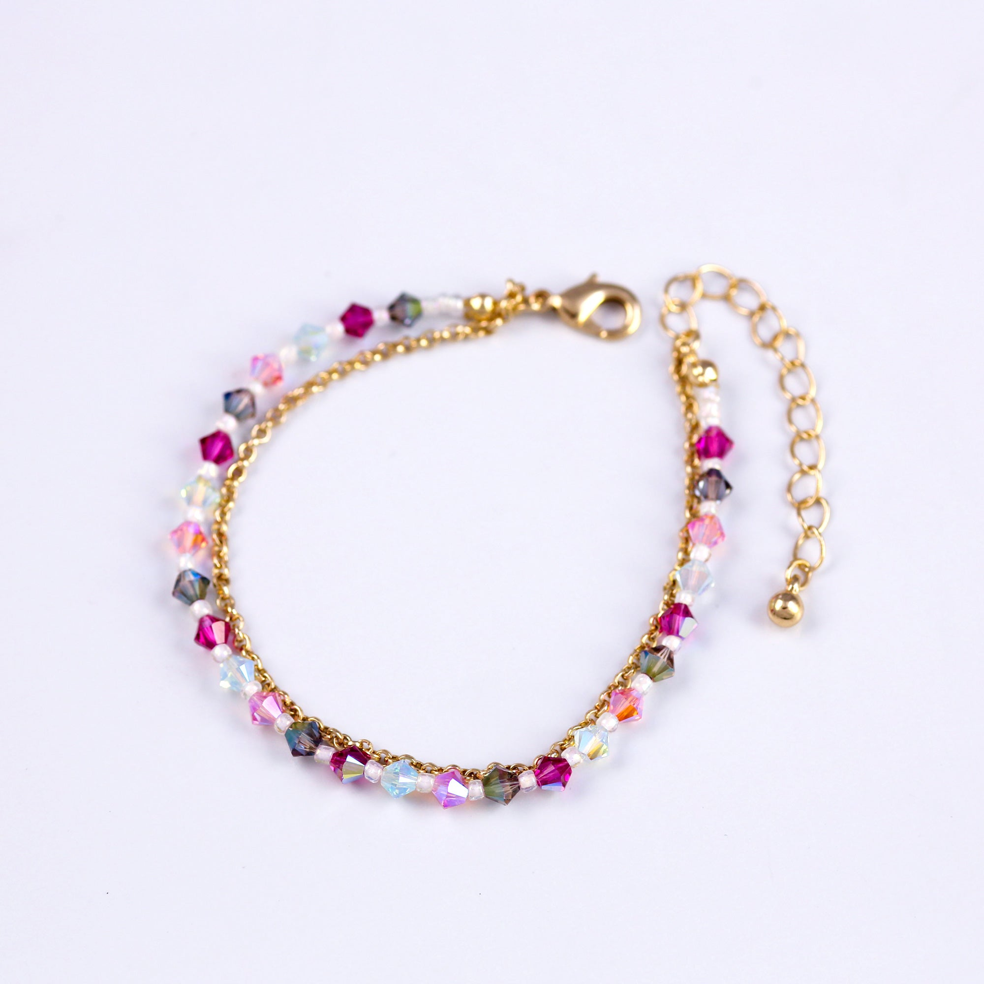 Gold Bead Bracelet in Purples
