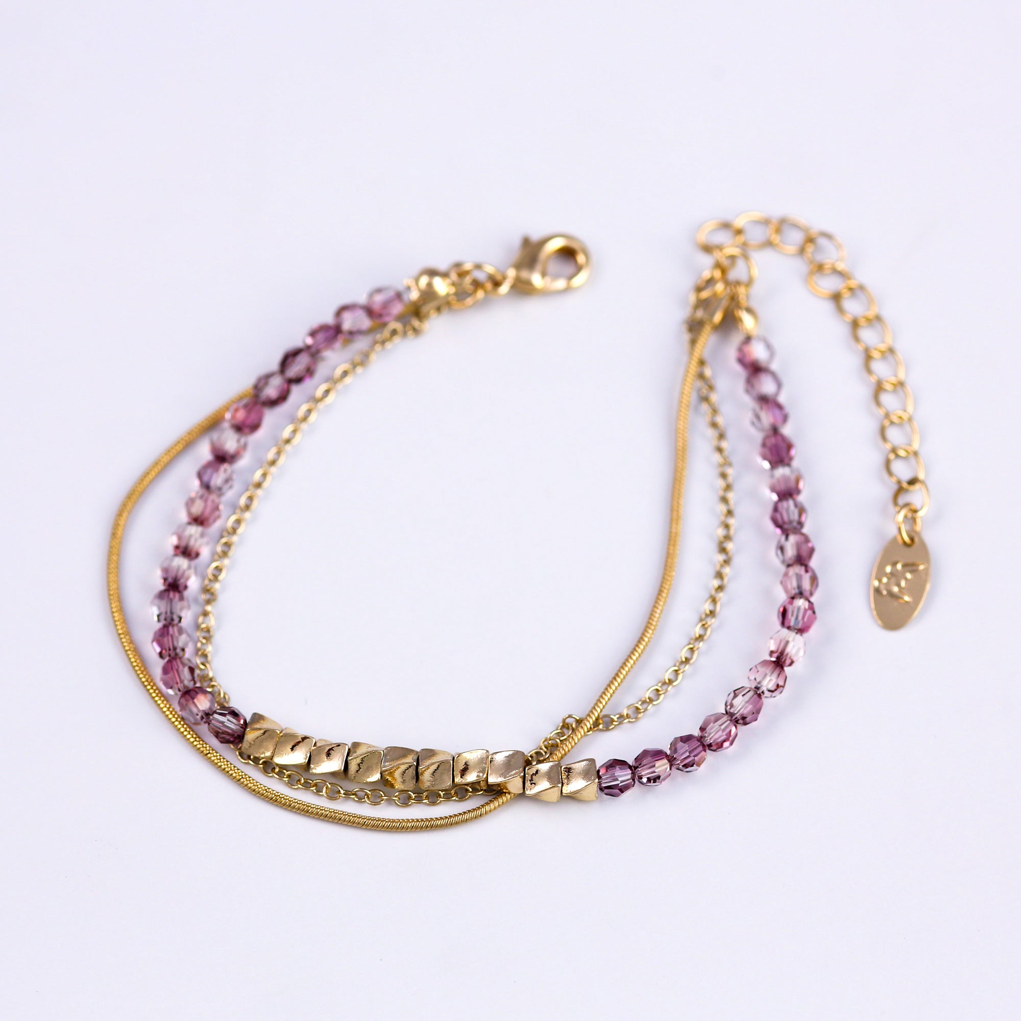 Three Chain Bead Bracelet Gold & Crystal Lilac Shadow