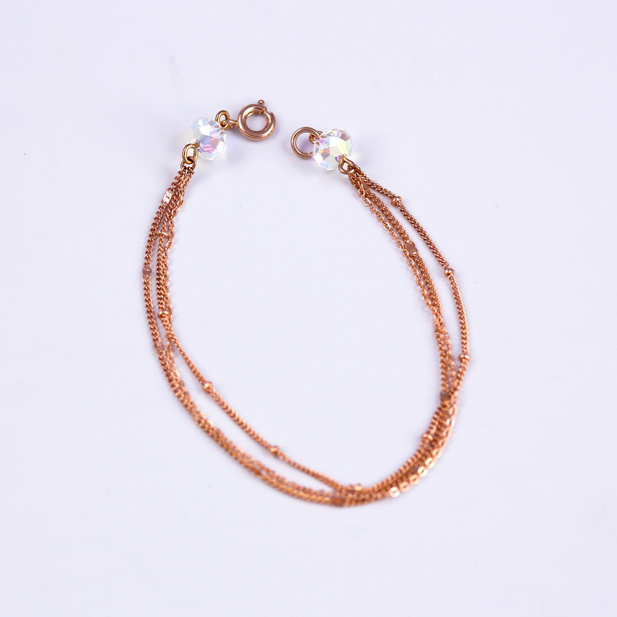 Rose Gold & Iridescent Bead Bridal Satellite Bracelet