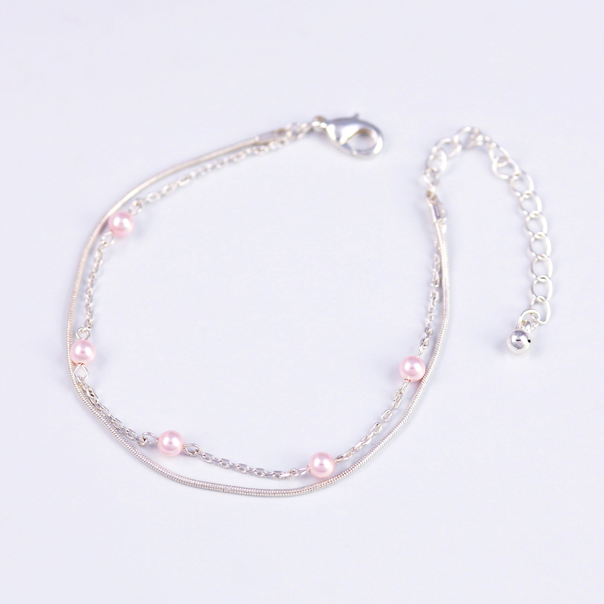 Delicate Silver Bracelet with Crystal Light Rose Pearls