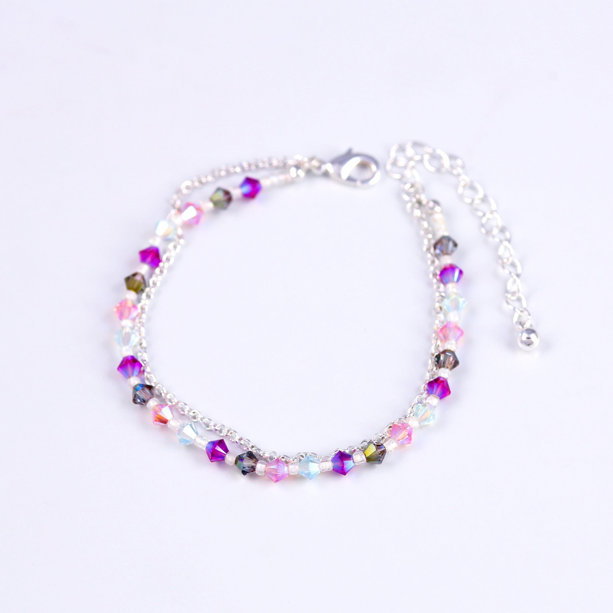 Silver Bead Bracelet in Purples