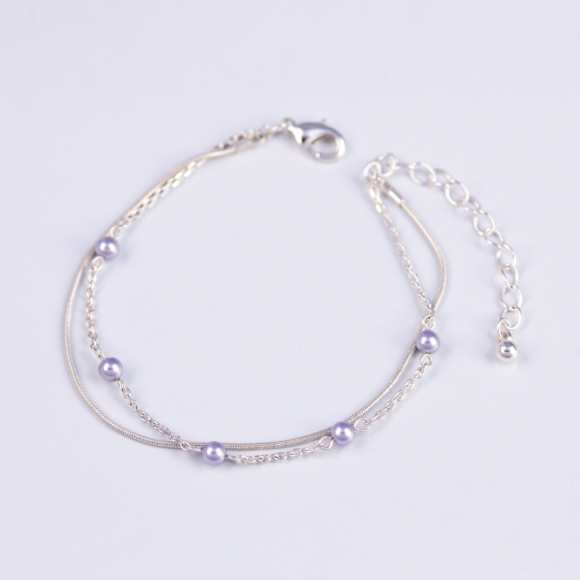Delicate Silver Bracelet with Crystal Lilac Pearls