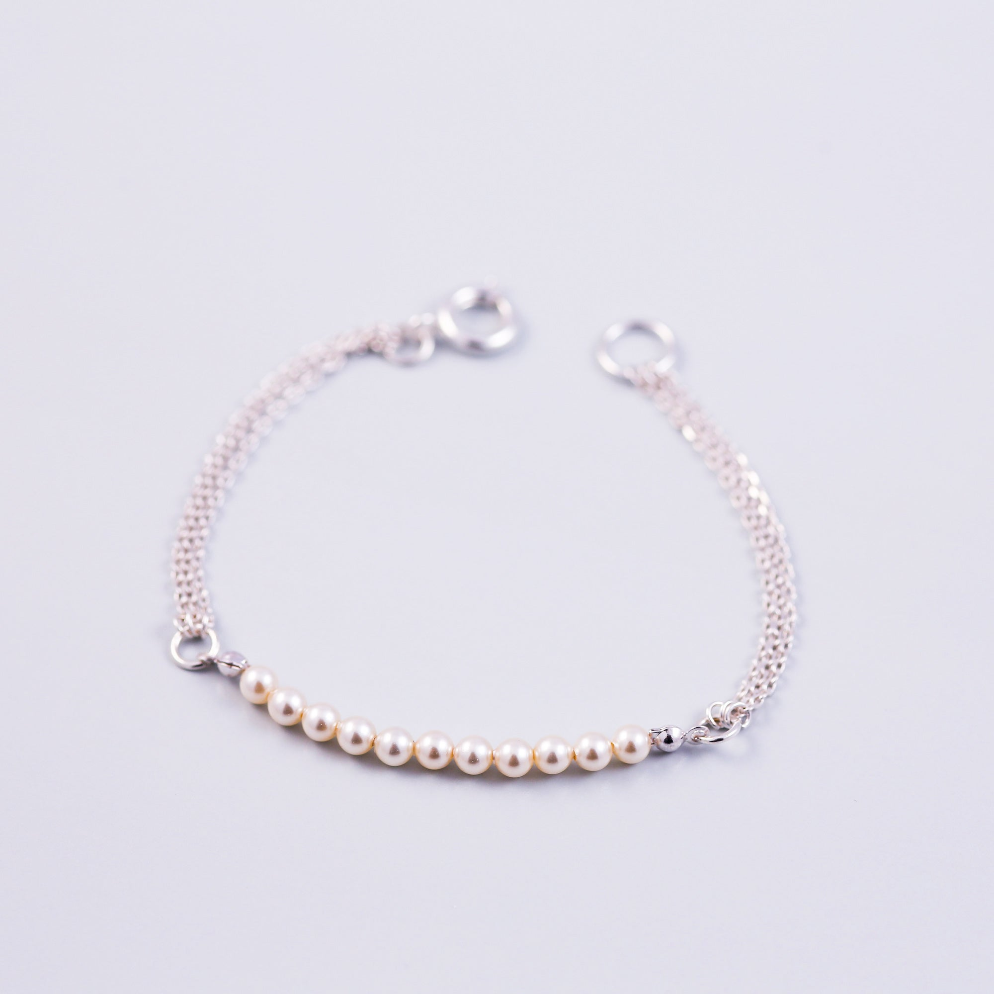 Pearl Bead Bracelet | Cute Friendship Bracelets | Friendship Jewellery | Silver & Cream
