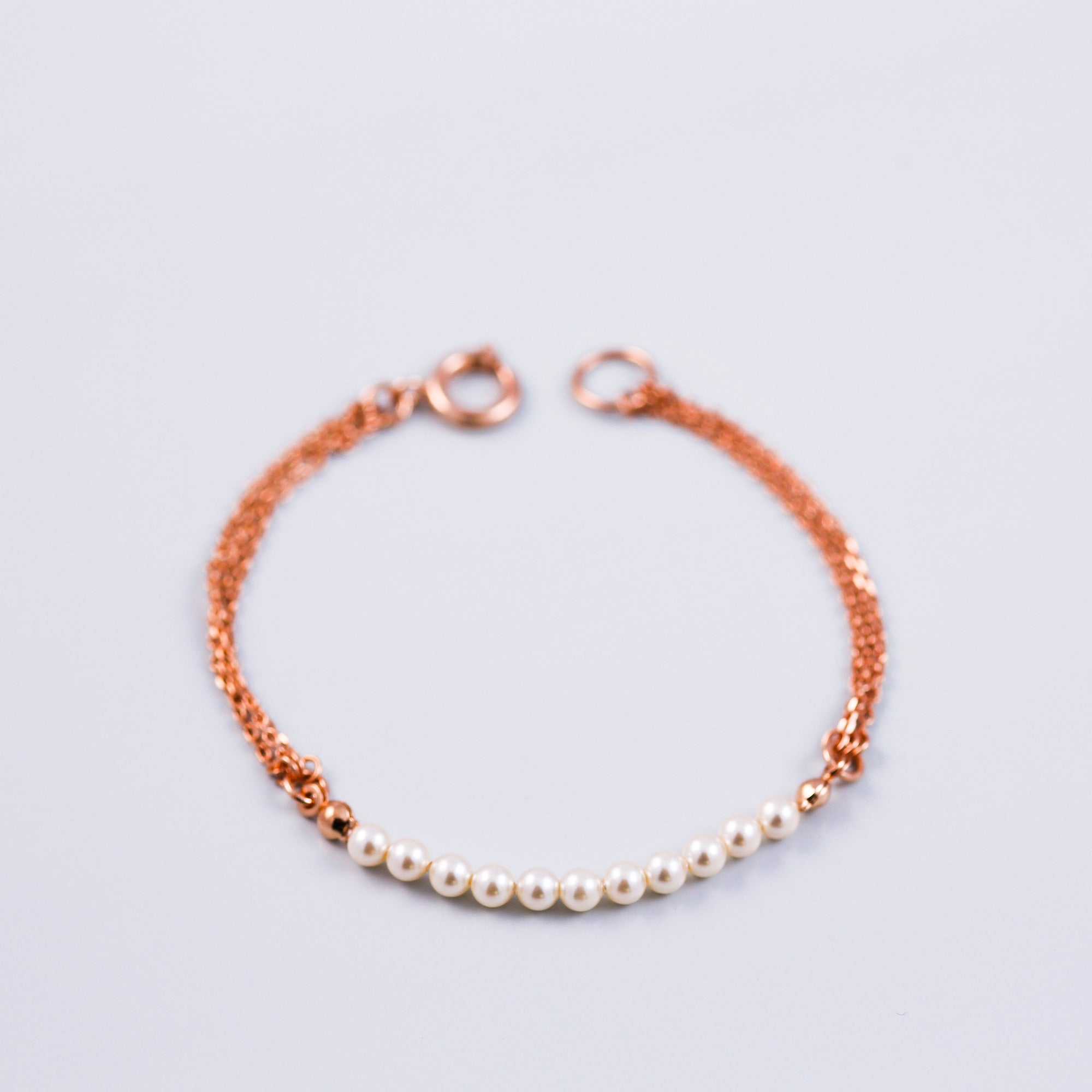 Rose Gold & Pearl Bead Bridal Bracelet